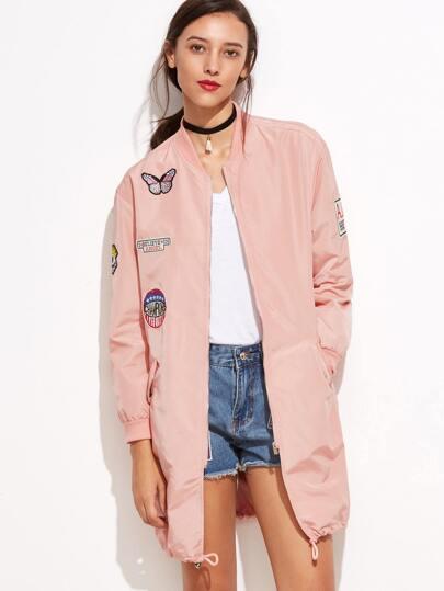 Pink Long Sleeve Pocket Jacket