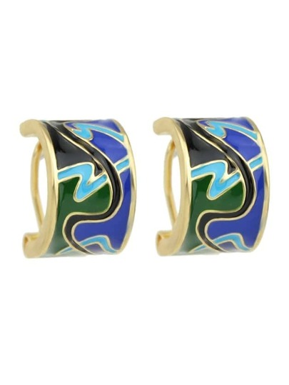 Green Enamel Hoop Brand Earrings