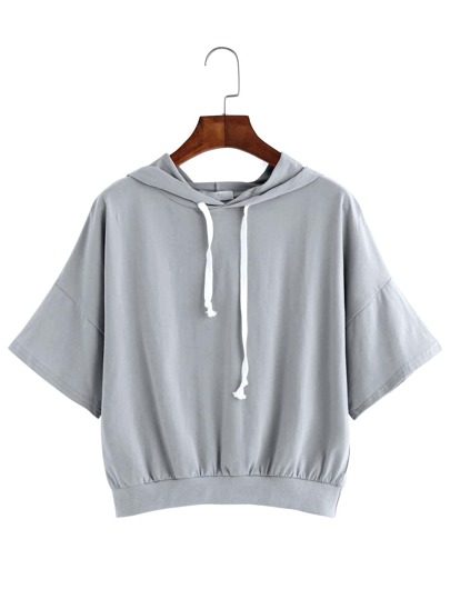 Grey Drop Shoulder Short Sleeve Hooded Sweatshirt