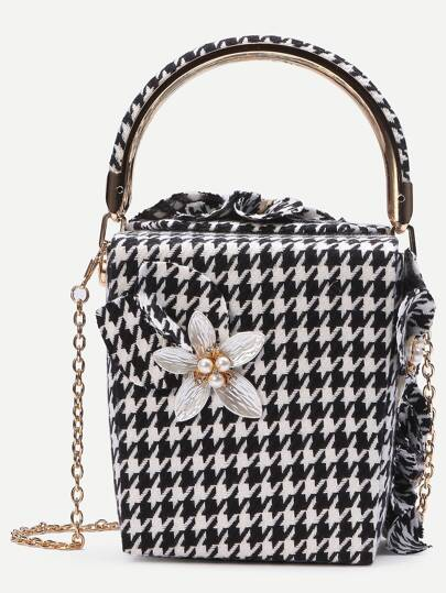 Contrast Flower Embellished Houndstooth Box Handbag With Chain