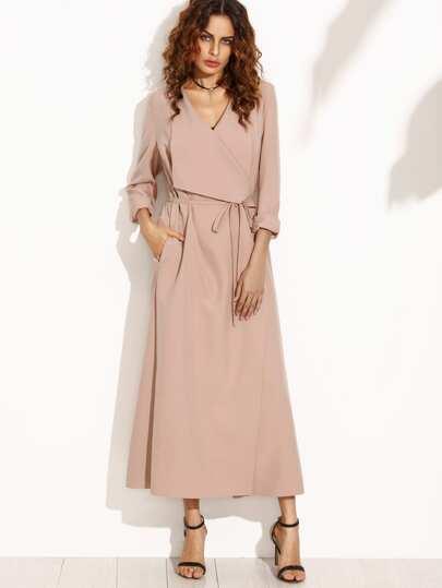 Розовый длинный модный плащ с шалевым воротником