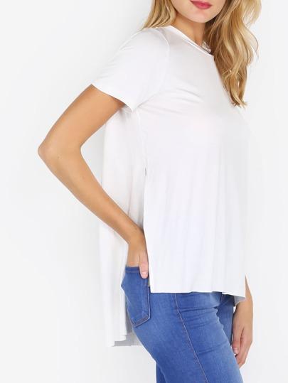 White Split Side Short Sleeve High Low T-shirt