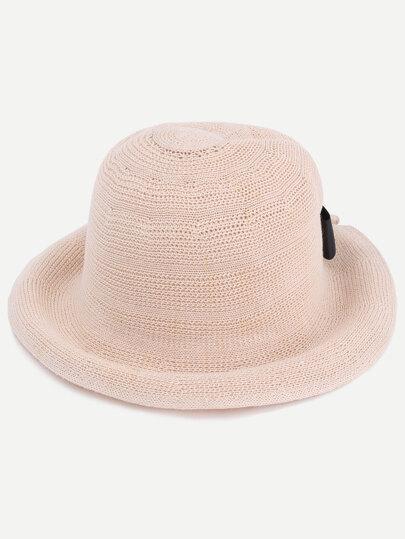 Beige Bow Embellished Straw Bucket Hat