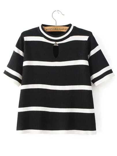 Black Striped Short Sleeve Keyhole Knitwear