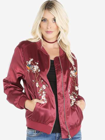 Orchid Embroidered Satin Bomber Jacket BURGUNDY