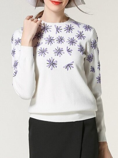 White Crew Neck Knit Beading Sweatshirt