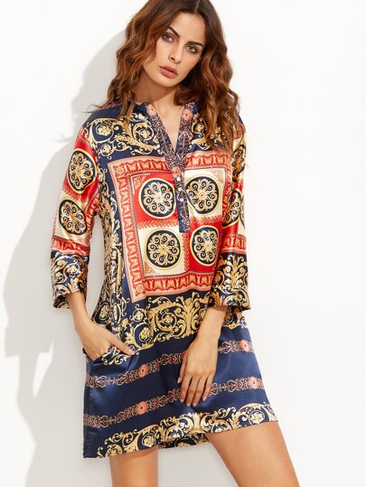 V Neck Ornate Print Button Front Dress