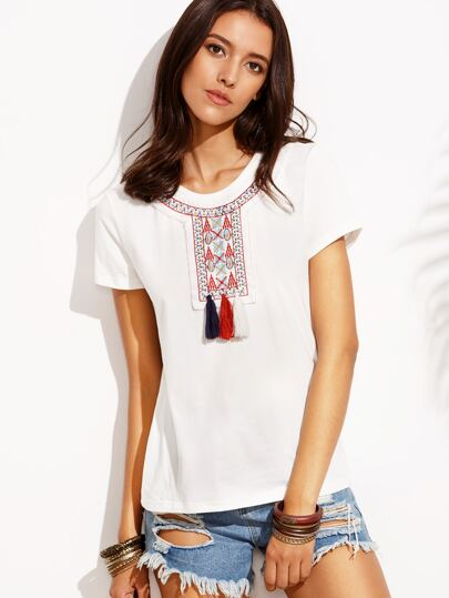 White Embroidery Tassel Front T-shirt