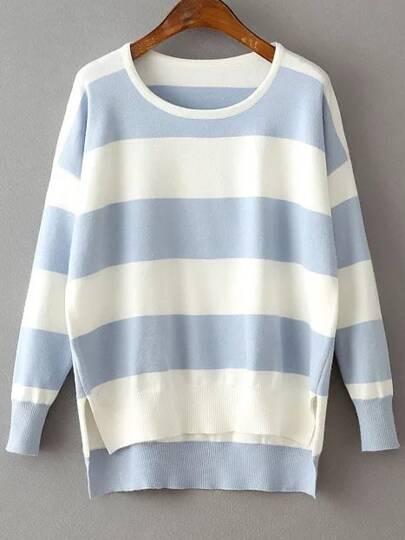 Blue Contrast Striped Split Side Dip Hem Knitwear