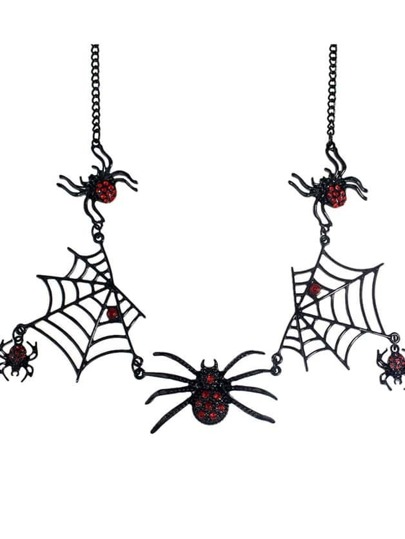 Gothic Rhinestone Black Spider Net Statement Necklace