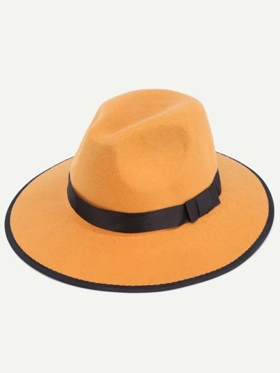 Khaki Bow Trim Large Brimmed Hat