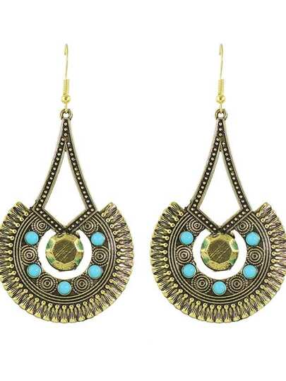 Antique Gold Indian Design Beads Round Pendant Earrings For Women