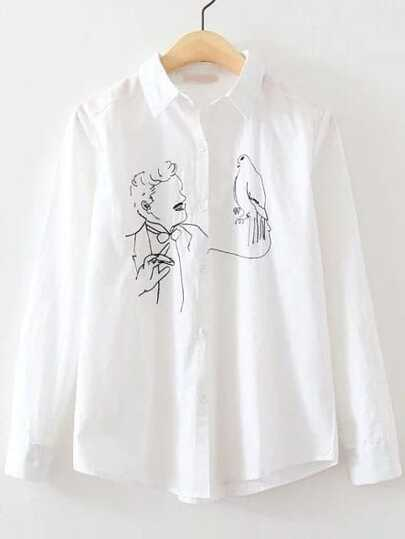White Magician Embroidery Sharp Collar Button Blouse