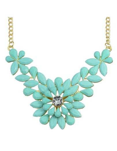 Blue Gemstone Flower Shape Necklace
