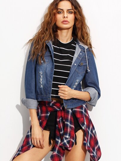 Blue Ripped Removable Hood Denim Jacket