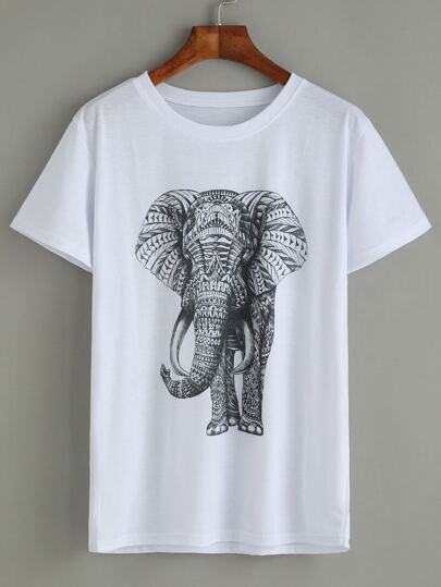 White Elephant Print T-shirt