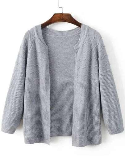 Grey Raglan Sleeve Loose Fit Textured Sweater Coat