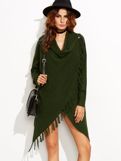 Green Fringe Trim Drape Collar Wrap Sweater Coat