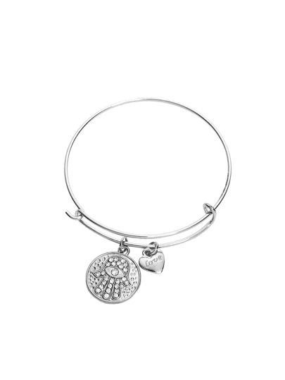 Silver Cristal Coin Bracelet