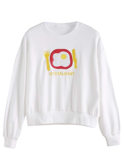 White Egg Embroidered Drop Shoulder Sweatshirt