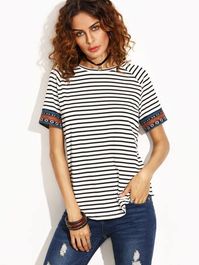 Black and White Stripe Embroidered Tape Detail T-shirt