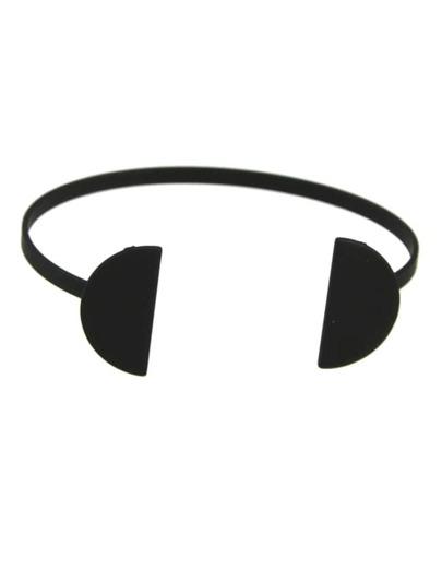 Black Plated Open Cuff Bracelet