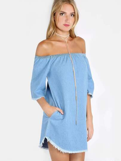Off The Shoulder Frayed Dress DENIM