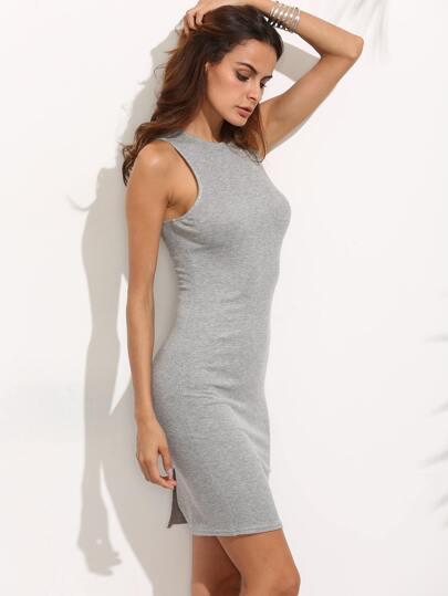 Grey Cutout Lace-up Back Split Sheath Dress