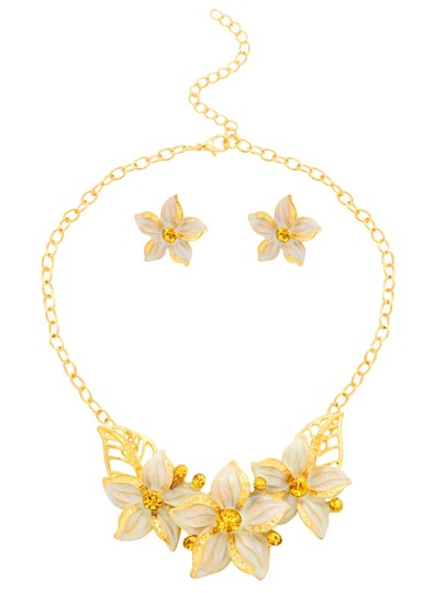 Gold Plated Rhinestone White Enamel Flower Jewelry Set