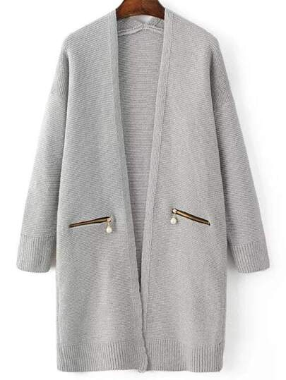 Grey Ribbed Trim Zipper Pocket Long Sweater Coat