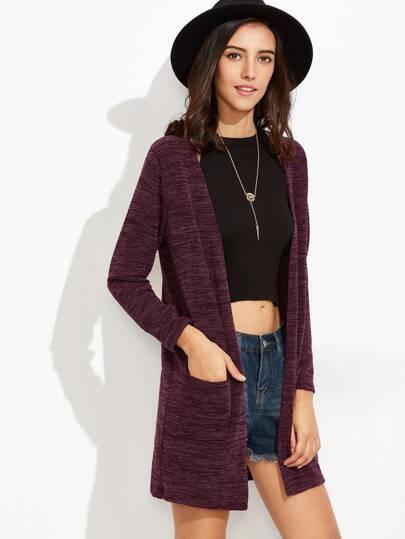 lange Strickjacke mit Tasche - purpur