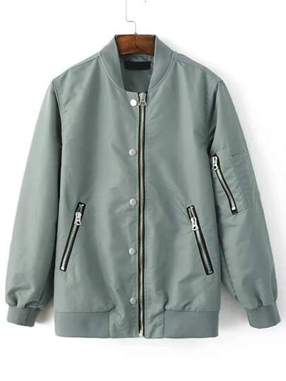 Green Stand Collar Bomber Jacket With Zipper