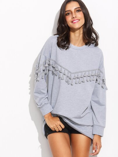 Grey Drop Shoulder Tassel Trim Sweatshirt