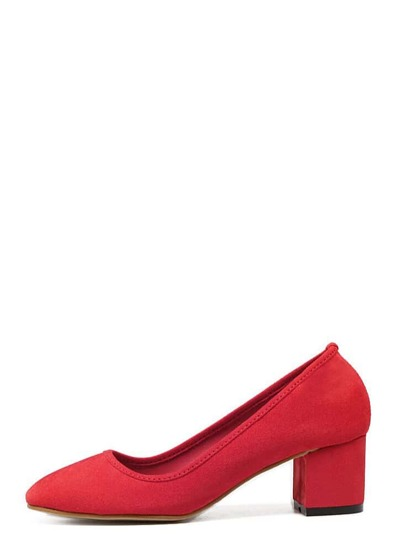 Red Faux Suede Round Toe Mid Heel Chunky Pumps