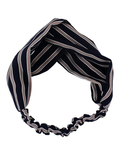 Navyblue New Stripes Elastic Headband Accessories