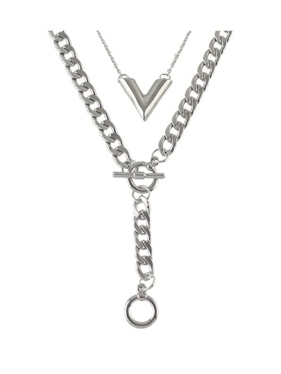 Silver Color Double Layers Wide Chain Necklace