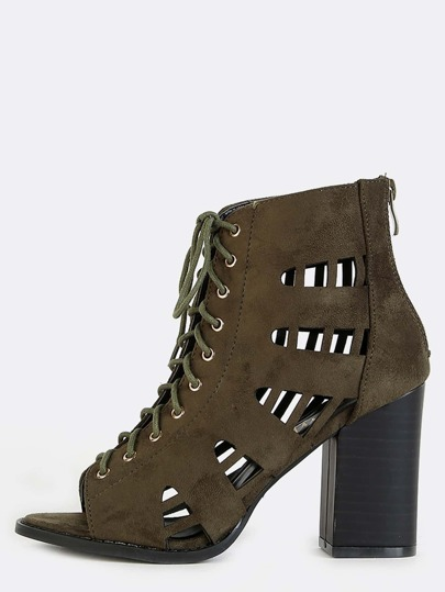 Side Cut Out Suede Chunky Heel Booties OLIVE