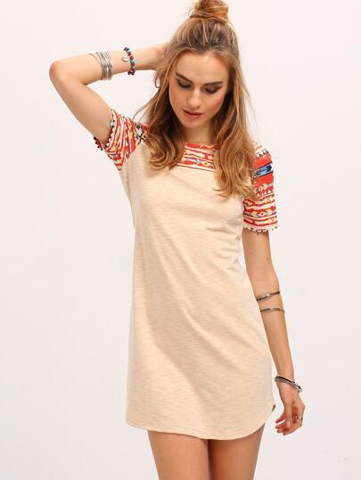 Apricot Tribal Print Yoke Sleeve Round Neck Shift Dress