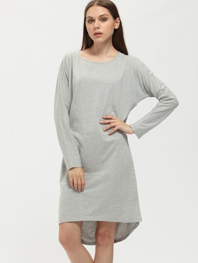 Grey Round Neck Dip Hem T-shirt Dress