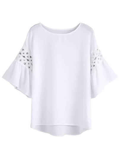 White Crochet Insert Bell Sleeve Blouse