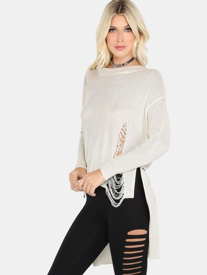 Distressed Mock Neck Sweater CREAM