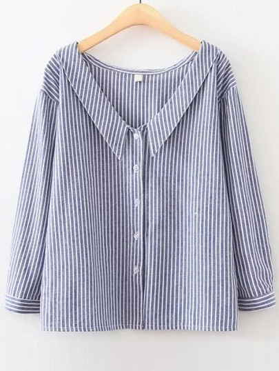 Blue Vertical Striped V Neck Button Up Blouse