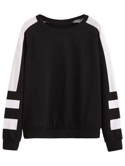 Black White Stripe Raglan Sleeve Sweatshirt