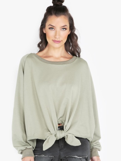 Knotted Crew Neck Pullover SAGE