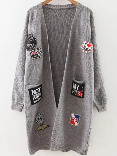 Grey Patch Embellished Drop Shoulder Sweater Coat