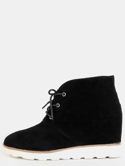Round Toe Wedge Ankle Boots BLACK
