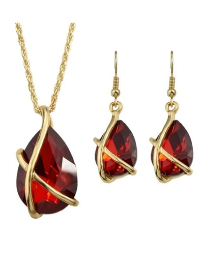 Red Crystal Pendant Jewelry Set