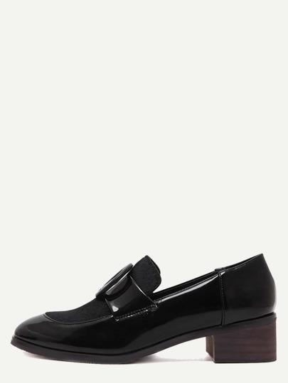 Black Horse Hair Plastic Buckle Cork Heeled Shoes