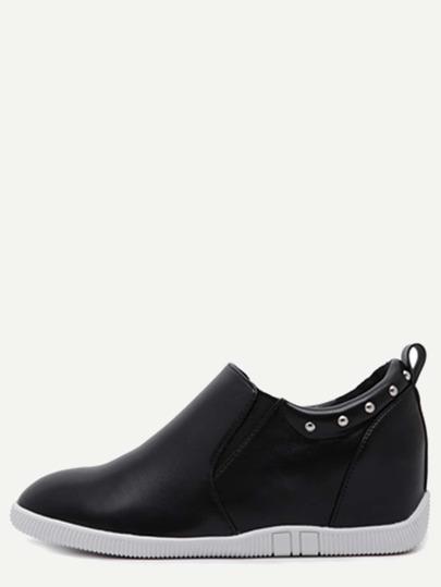 Black PU Studded Elastic Hidden Wedges Shoes