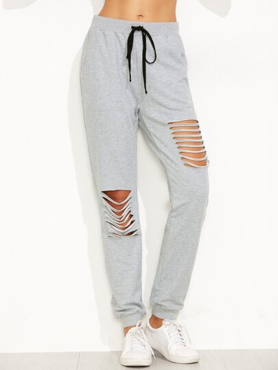 Ladder Cutout Drawstring Sweatpants